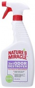 Nature's Miracle 3 in 1 Odor Destroyer Спрей для уничтожения пятен и запаха, без аромата (709 мл)