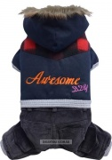 Doggy Dolly Awesome 4 legs blue hoodie Комбинезон для собак, синий (XS )
